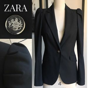 ZARA Pleated & Puffed black blazer